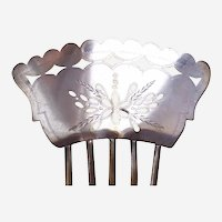 Silver plate hair comb Spanish mantilla style hair ornament