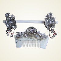 Vintage Japanese Hair Comb Hairpin Geisha Set Silver tone Faux Pearls Trembler