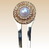 Vintage hair comb Kirks Folly signed faux pearl hair comb hair pick 1980s
