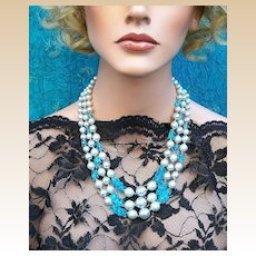 Vintage bead necklace signed Japan blue faux pearl multi strand (ADS)