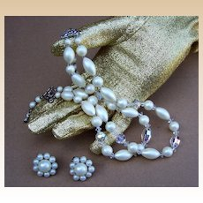 Vintage multistrand necklace signed LAGUNA plus JAPAN ears, faux pearl (ACE)