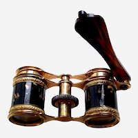 Antique Opera Glasses with Lorgnette in Brass with Faux Tortoiseshell Effect (ABP)