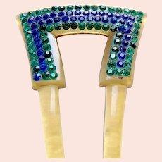 Blue green rhinestone hair pin Art Deco celluloid hair accessory