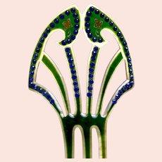 Art Deco hair comb blue rhinestone hair ornament