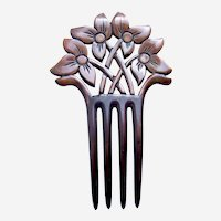 Carved flowers hair comb Art Deco period hair slide