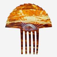 Art Deco hair comb amber celluloid sunray hair accessory