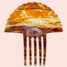 Art Deco hair comb amber celluloid sunray hair accessory