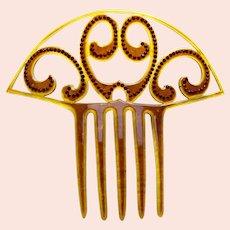 Amber rhinestone hair comb Art Deco Spanish hair ornament