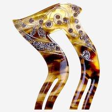 Art Deco hair comb asymmetric rhinestone hair pin