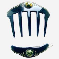 Art Deco hair comb barrette set celluloid rhinestone hair accessories