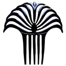 Egyptian style hair comb Art Deco black celluloid hair accessory