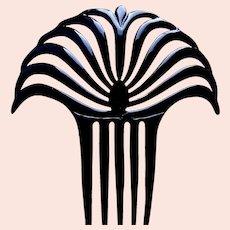 Egyptian style hair comb Art Deco black celluloid hair accessory