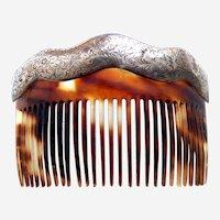 Late Victorian hair comb faux tortoiseshell hair accessory