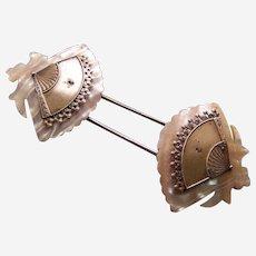 Mother of pearl fan design barrette hair slide accessory