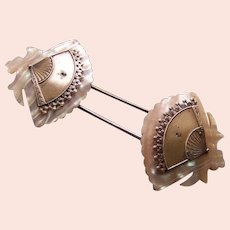 Mother of pearl fan design barrette hair slide accessory