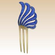 Blue rhinestone hair comb Art Deco style hair accessory