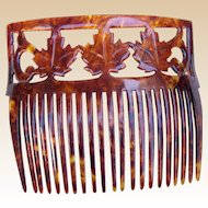 Antique hair comb faux tortoiseshell maple leaf hair accessory