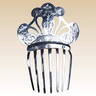 Polished Steel Plated Hair Comb Victorian Pierced Repousee Spanish Mantilla Style Hair Accessory