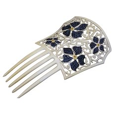 French Ivory Floral Hair Comb French Ivory With Jet Rhinestones - Red Tag Sale Item