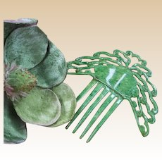 Art Deco Hair Comb Green Faux Jade With Oriental Influence