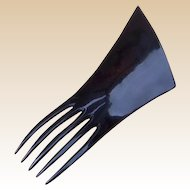 Art Deco Hair Comb In Black Celluloid Triangular Design