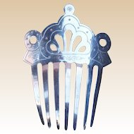 Victorian Hair Comb Pierced and Engraved Steel Mantilla Style