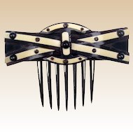 Victorian Hinged Horn Back Comb with Decorative Light Panels