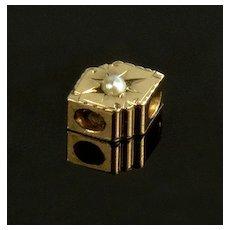 Antique Victorian 14K Rose Gold Pearl Slide Fancy Charm For Bracelet