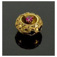 Antique Victorian Etruscan 14K Gold Ruby Slide Charm For Bracelet