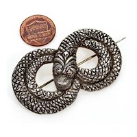 Antique Victorian Sterling Coiled Snake Brooch Pin