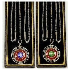 Art Deco Carnelian Plique-A-Jour Pendant GF Fancy Link Chain Necklace