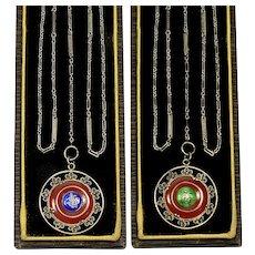 Art Deco Carnelian Plique-A-Jour Pendant GF Chain Necklace