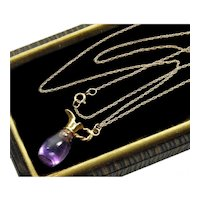 Antique Victorian 14K Amethyst Pitcher Chain Necklace