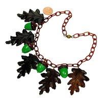 Art Deco Carved Hardwood Oak Leaves Celluloid Acorns Chain Necklace