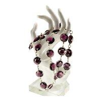 Art Deco Huge Bezel Set Czech Amethyst Glass Necklace