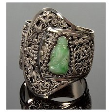 Antique Jadeite Jade Silver Buckle Bracelet French Indo China Chinese Export C. 1900's