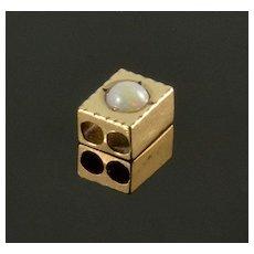 Antique Victorian 10K Rose Gold Opal Slide Charm For Bracelet 001872
