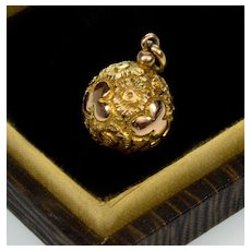Antique Victorian 10K Gold Chased Shamrock Ball Charm Pendant