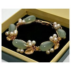 Ming's Mings Of Honolulu Bracelet 14K Gold Jade Akoya Pearls C.1950
