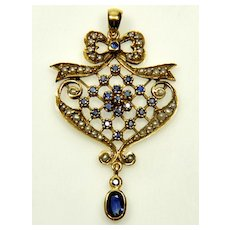 Victorian Edwardian 14K Sapphire Pearl Pendant C1900