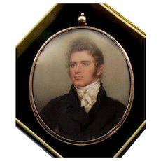 Antique Georgian 14K Rose Gold Locket Miniature Picture By Nathaniel Rogers C. 1820