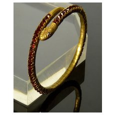 Antique Victorian Pinchbeck Bohemian Garnet Glass Snake Bracelet