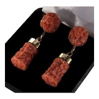 Antique Art Deco Momo Coral 14K Gold Dangle Earrings Hand Carved