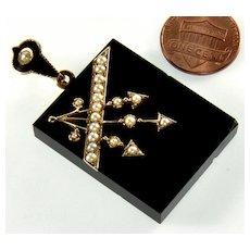 Antique Victorian 14K Gold Arrow Pearl Onyx Locket Pendant