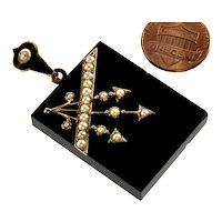 Antique Victorian 14K Gold Arrow Pearl Onyx Locket Pendant