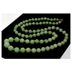 Antique Victorian Jadeite Jade Bead Necklace