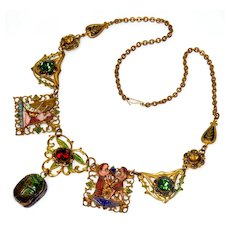 Antique Victorian Egyptian Revial Enamel Gilded Brass Necklace
