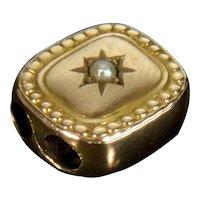 Antique Victorian 14K Rose Gold Pearl Slide Charm For Bracelet 001906