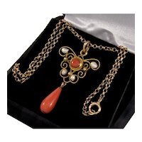 Antique Edwardian Filigree 14K Coral Pendant 10K Chain Necklace