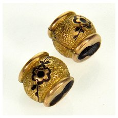 Antique Victorian 14K Gold Enamel Slides Charms For Bracelet A Pair Of